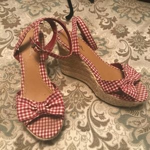 MIA red gingham wedges, 10
